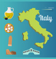 italy travel map attraction tourist symbols vector image