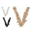 Letter V with retro floral elements