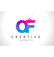 of o f letter logo with shattered broken blue vector image vector image
