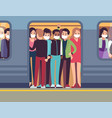 people in masks and subway man vector image