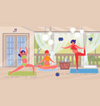 relaxing yoga practices for three pregnant girls vector image