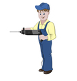 Repairman or handyman standing with a perforator vector image vector image