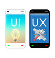 smartphone with ui and ux design on screen vector image