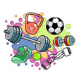 sports equipment on colored background vector image vector image