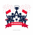 stick figures of the winner cup soccer or football vector image