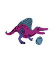 toothy dinosaur with egg color hand drawn vector image vector image