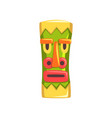 tribal mask carved wooden statue cartoon vector image vector image