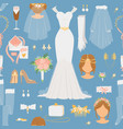 wedding cartoon bride icons seamless vector image vector image
