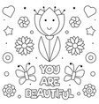 you are beautiful coloring page vector image vector image