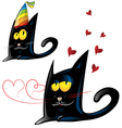 two variant of black cat cartoon party and vector image