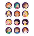 happy little girls avatar icon set vector image