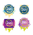 24 hours badges collection vector image vector image
