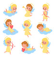 baby angels funny kids cupids with wings vector image vector image