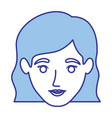 blue silhouette of smiling woman face with wavy vector image