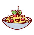 bowl with tasty food vector image
