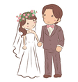 bride and groom holding hands together vector image