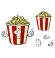 cartoon funny striped box popcorn vector image