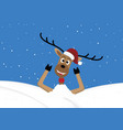 christmas reindeer lie in snow hill background vector image vector image