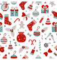 christmas seamless pattern with many winter doodle vector image