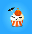 cute happy halloween cupcake with pumpkin and vector image