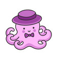 cute little octopus in a hat with bow-tie vector image