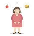 Fat Woman Makes a Choice Between an Apple and vector image vector image