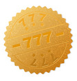 golden 777 medal stamp vector image