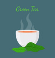 Green tea asian drinkwhite cup leaves of matcha vector image