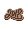 happy new year 2018 wood badge element vector image vector image