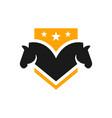 horse head shield logo vector image vector image