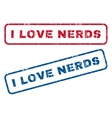 I Love Nerds Rubber Stamps vector image vector image