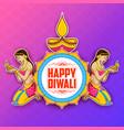 lady burning diya on happy diwal holiday vector image vector image