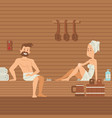 man and woman in sauna people vector image vector image