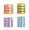 network database disc icon set realistic vector image vector image