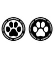 pets allowed sign black and white paw symbol in vector image