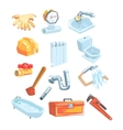 Plumbing Related Instruments And Objects Set vector image vector image