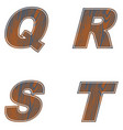 q r s t letters of brown color design of old wood vector image