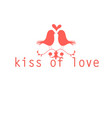 red love birds kissing vector image