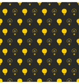 Seamless black pattern or texture with light bulbs vector image
