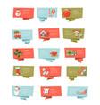 set christmas ribbon banners flat vector image vector image