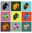 set icons in flat design camera vector image