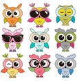 set of cool colorfull owls isolated on white vector image