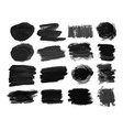 set of sixteen black hand drawn ink stains vector image vector image