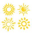 set of sun four painted solar symbols vector image
