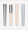 set realistic chopsticks chopstick element vector image