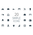 set simple furniture icons vector image