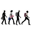 silhouettes of four teenage boys going to school vector image vector image