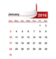 simple calendar 2016 year january month vector image