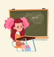 small school girl sit at desk over class board vector image vector image