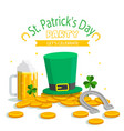 st patrick s day party let s celebrate hat gold co vector image